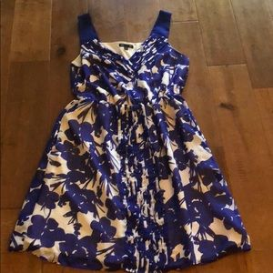 Blue and white floral fit and flare dress